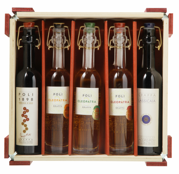 Poli Grappa 5 x 10cl Baby Pack Barrels Finish 40% 50cl