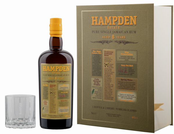 Hampden Estate Pure Single Jamaican Rum 8 years Gift Box 8 J. 46% 70cl